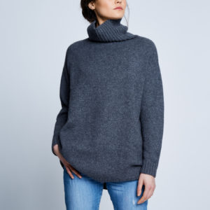 Alabaste Mongolian Cashmere Sloppy Joe Sweater in Derby Grey